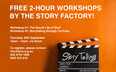 FREE 2-HOUR WORKSHOPS BY THE STORY FACTORY!